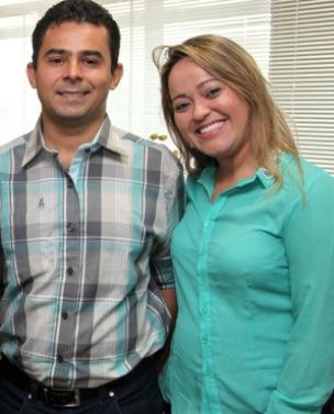 Eric Costa ao lado da amada que será tesoureira do município.