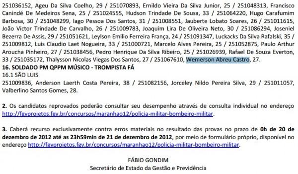 Wemerson Abreu Castro para o cargo de Soldado PM Música – Trompetista, com lotação para São Luís. Foto: Reprodução
