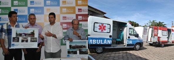 Cutrim apresentou o projeto arquitetônico das Creches Municipais.  Além disso, entregou duas ambulâncias em Ribamar.  (foto: Oswaldo Ceará).