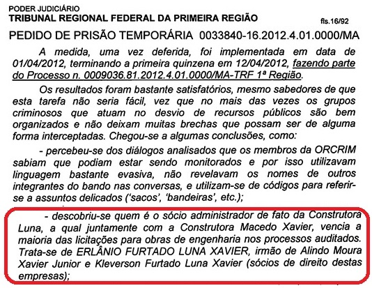 Documento da Polícia Federal.