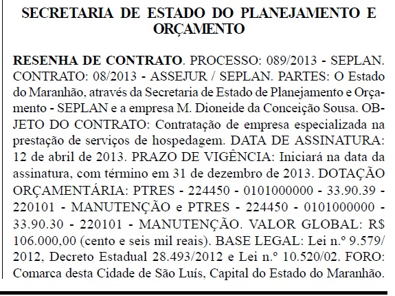Secretaria de Planejamento do Estado do dia 22