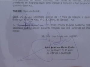 Decisão do Juiz da vara da infância, José Américo