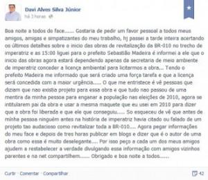 Davizinho acusou Francisco Escórcio de pegar informações de seu Facebook para mentir sobre paternidade da duplicação da BR-010. Foto: Reprodução / Faceboook