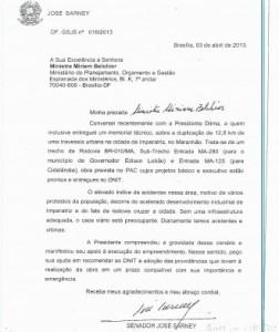 m ofício encaminhado ao diretor-geral do Dnit, Escórcio faz alusão à conversa que Sarney teve com Dilma, que o teria encaminhado à Mirian Belchior. Foto: Reprodução