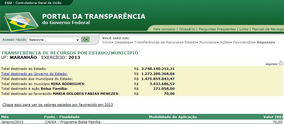 Prova que Dolores recebe Bolsa Família no Portal do governo federal.