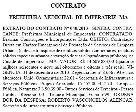 Cópia da publicação no Diário Oficial do Estado do Maranhão. Foto: Reprodução / D.O/MA