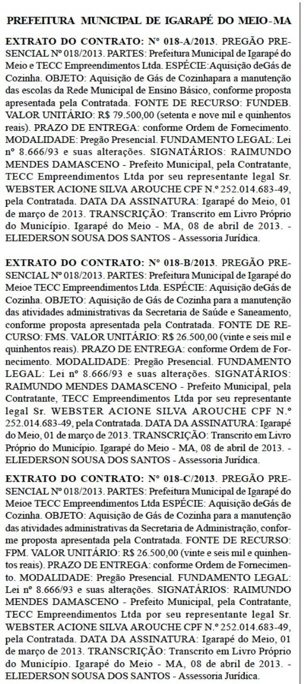 Contratos publicados no Diário Oficial do Maranhão.