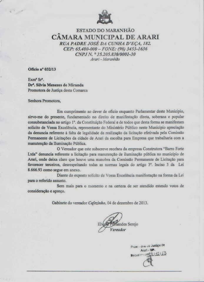 Denuncia no Ministério Público.