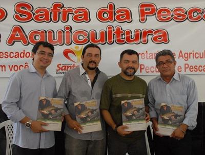 Secretário de Estado de Pesca e Aquicultura do Maranhão, Dayvson Franklin, o superintendente Federal de Pesca e Aquicultura do Maranhão, Júnior Verde, deputado federal Cleber Verde.