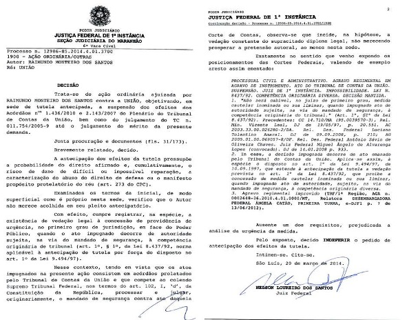 Decisão da Justiça Federal contra Monteiro.