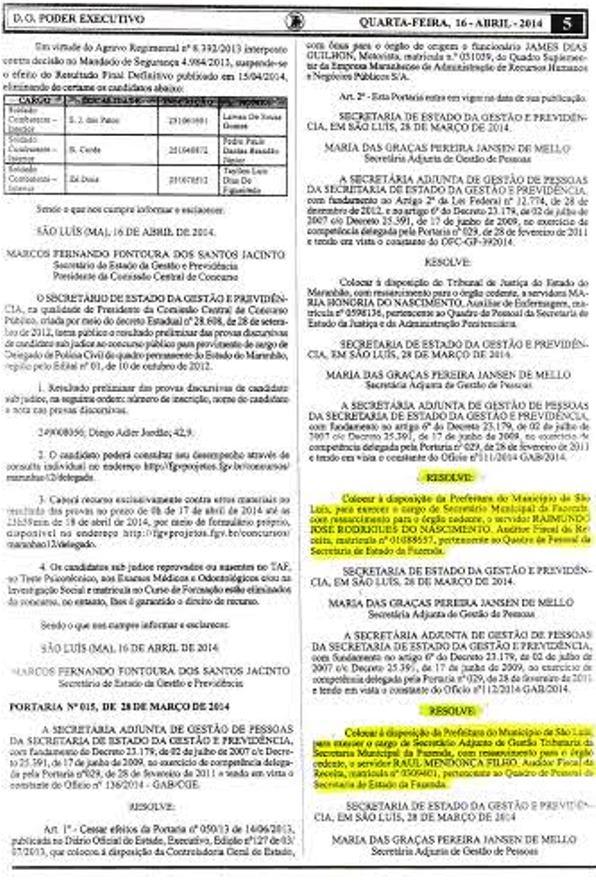 Ato governamental, com ressarcimento para o órgão cedente, publicado no Diário Oficial do Estado.