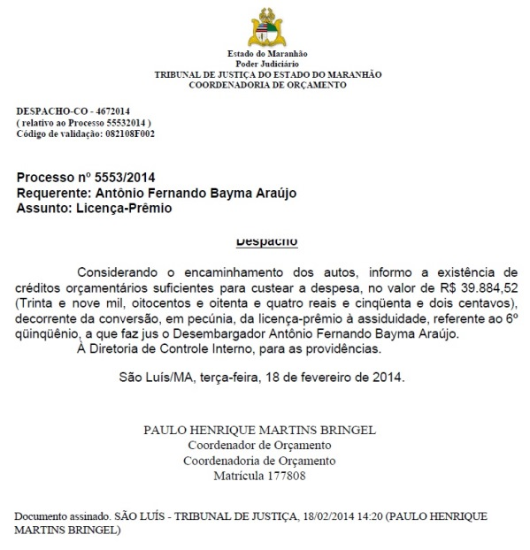 Desembargador (documento Blog do Neto Ferreira).