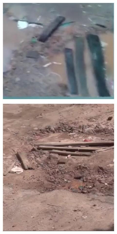 Buraco causado pela obra da CAEMA em duas épocas: Cheio e seco.