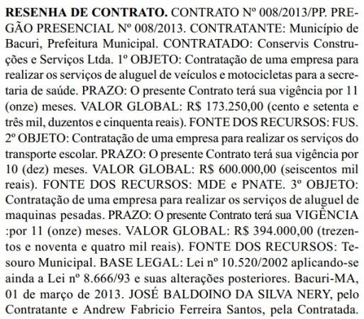 DE FACHADA, MAS MILIONÁRIA Resenha do contrato milionário assinado entre a Prefeitura de Bacuri e a empresa Conservis Construções Comércio e Serviços Ltda. Foto: Diário Oficial do MA.