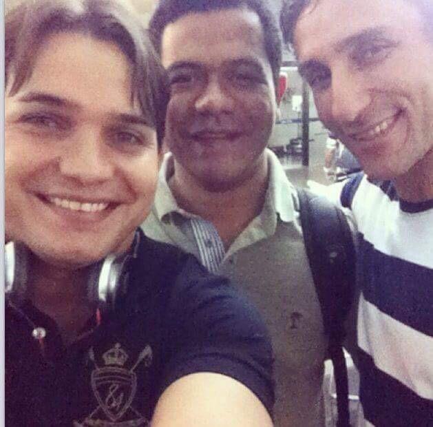 O presidente municipal do PSBD ao lado de Luciano Leitoa e o ex-prefeito Felipe Santolia, preso pela Polícia Civil.