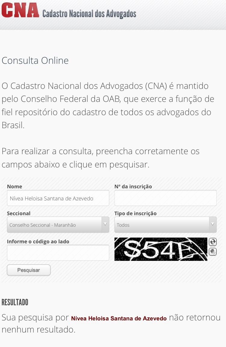 Site confirma que Nívea não possui OAB.