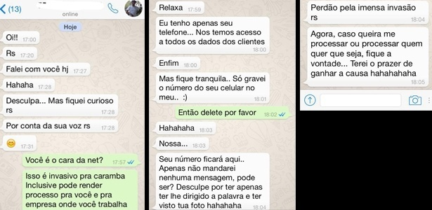 Cliente posta prints da conversa em post no Facebook;
