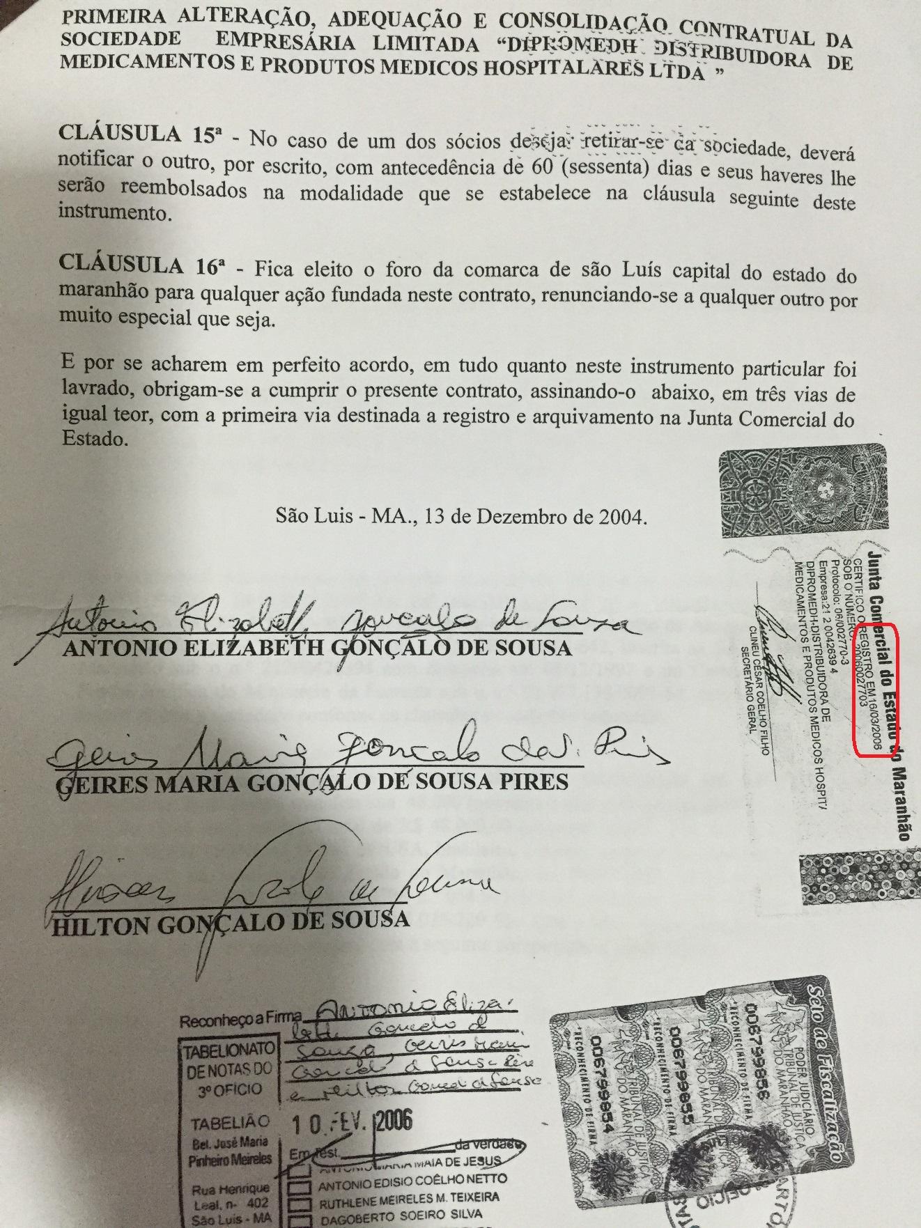 Gonçalo entrou na prefeitura em 2005. No documento ele diz que deixou a empresa em 2004, mas registrou a saída da sociedade apenas em 2006. A empresa operou por mais de 1 ano ainda.