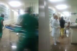 Paciente vítima dos disparos indo para sala de cirurgia