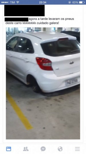 Pneu de carro é furtado em estacionamento de shopping