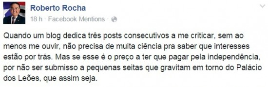 Postagem do senador Roberto Rocha no Facebook