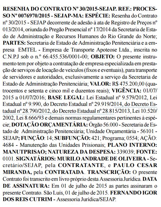 Resenha do contrato da Sejap com a EMTEL - Empresa de Transporte Apoteose Ltda