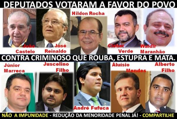 Votos maranhenses contra e a favor da maioridade penal
