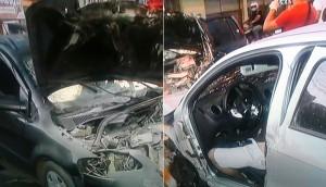 Automóveis envolvidos no acidente