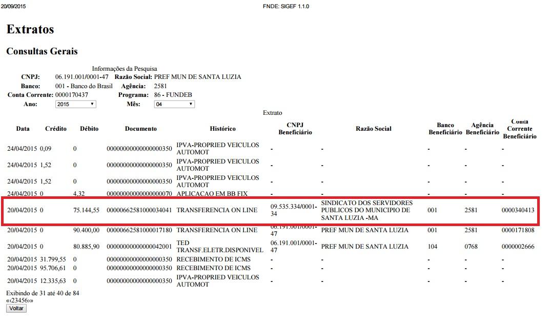 Documento que comprova o repasse da verba ao Sindesep-PL.