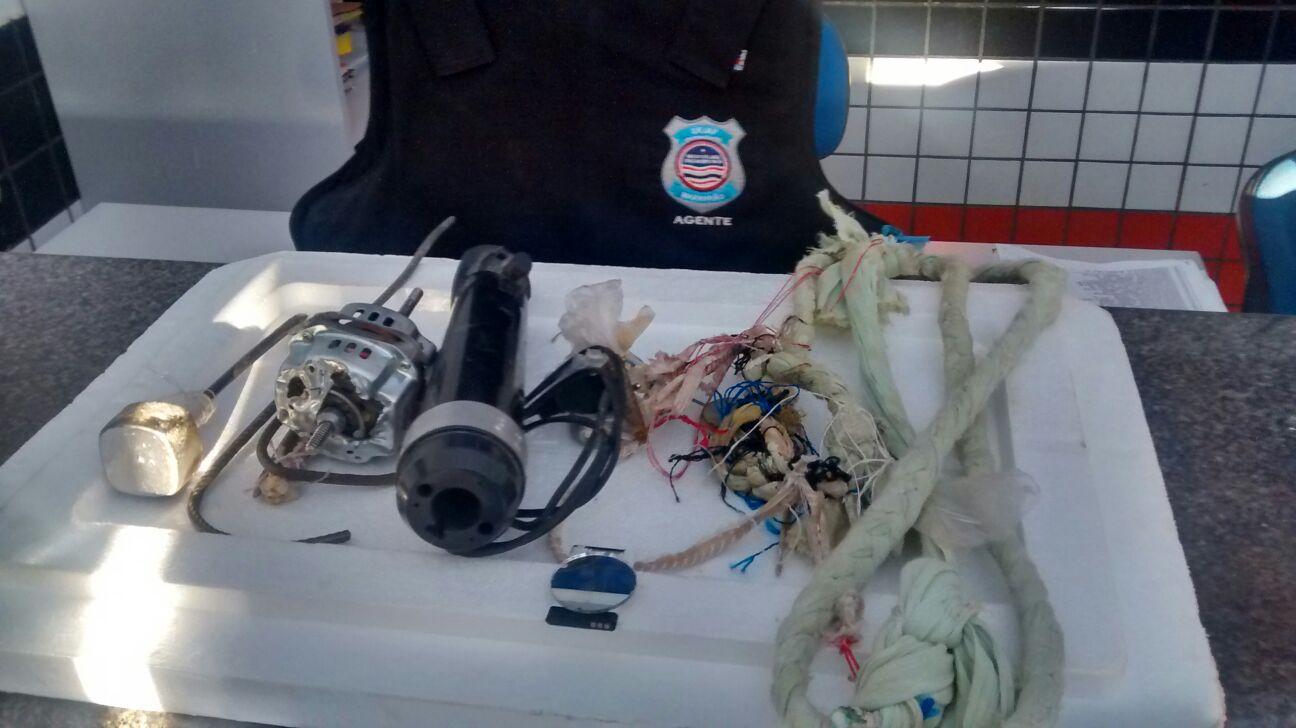 Material encontrado durante a tentativa de fuga dos internos.