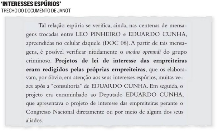Trecho do documento de Janot