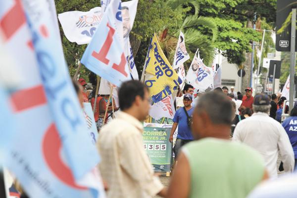 20-09-2014-Franca SP -Eleições 2014- Bandeiras no centro - (1) Fotos: Ângelo Pedigone/Comércio da Franca