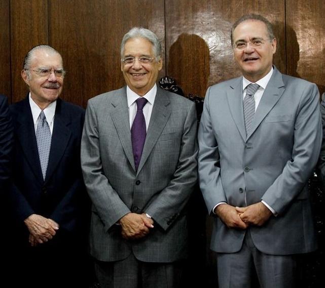 Henrique Alves, Aécio Neves, José Sarney, FHC e Renan Calheiros em sessão solene