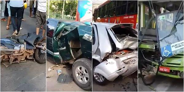Grave acidente envolvendo 5 veículos deixa duas pessoas feridas em São Luís