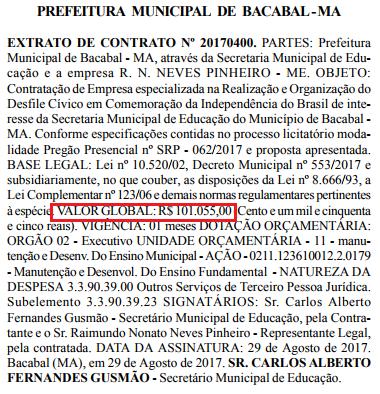 Gusmão arrebentou: Prefeitura de Bacabal pagou R$ 101 mil em desfile cívico