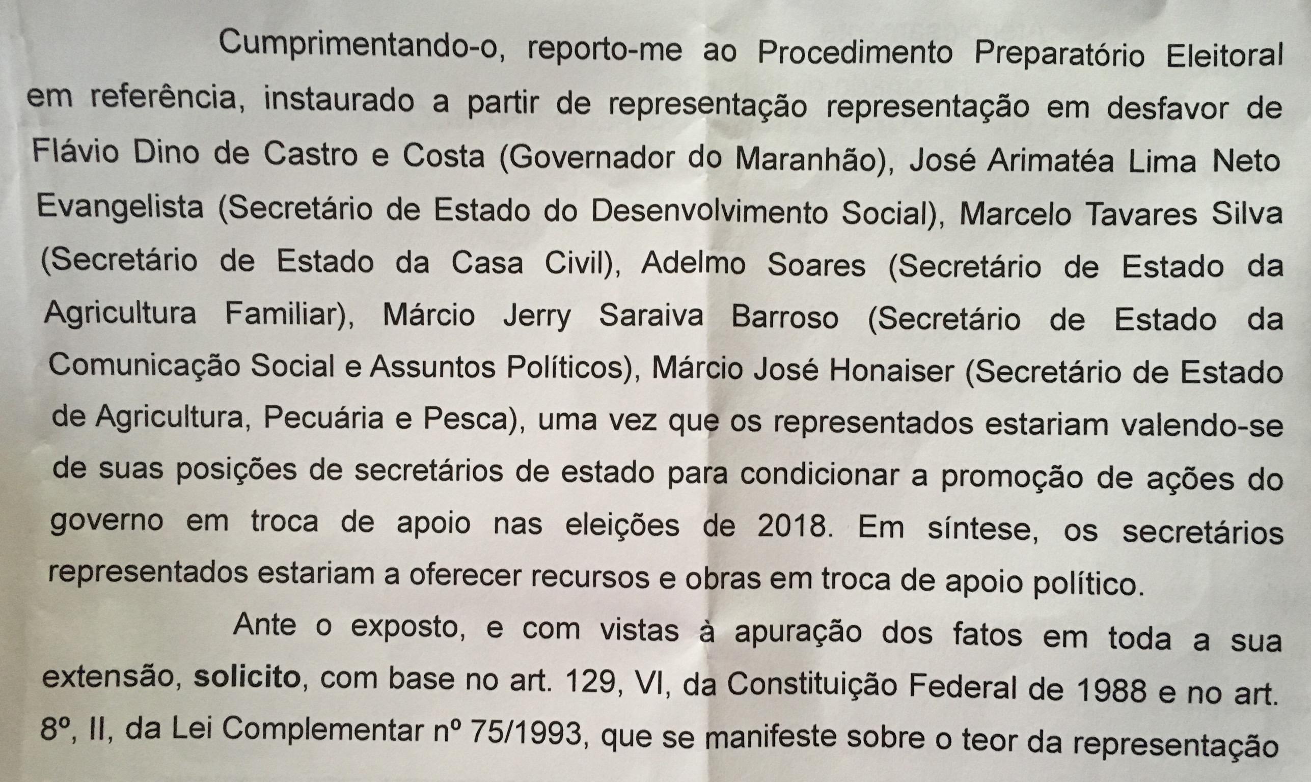 Documento obtido pelo blog mostra os nomes dos secretários e governador que são alvo de investigação.
