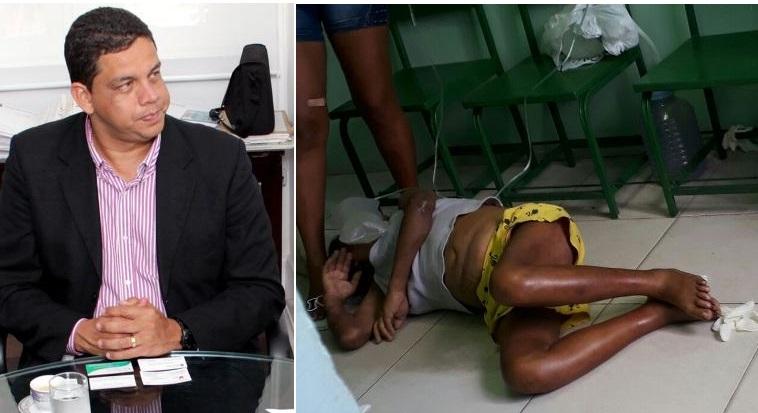 Lula Fylho e a paciente no chão do Socorão.