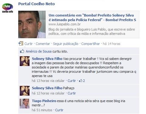 Sem respeito, Soliney Filho segue o exemplo do pai. Foto: Reprodução/Facebook