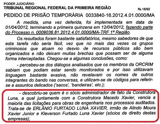 Documento da Polícia Federal.