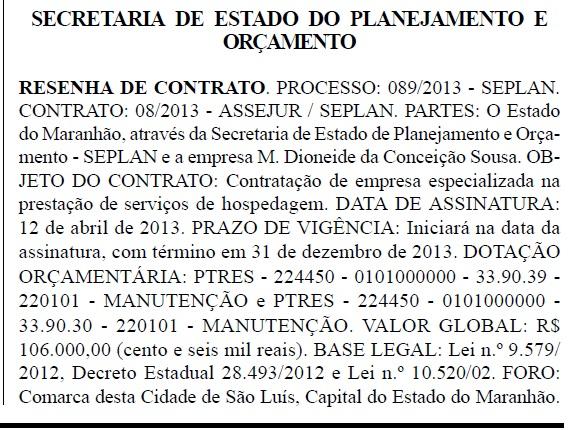 Secretaria de Planejamento do Estado do dia 22