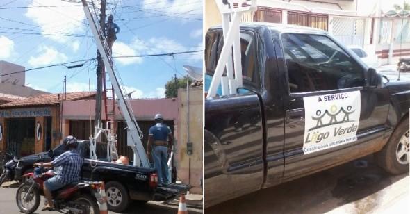 Veículo de Lago Verde prestando serviços para a prefeitura de Bacabal. Foto tirada na rua Teixeira de Freitas.