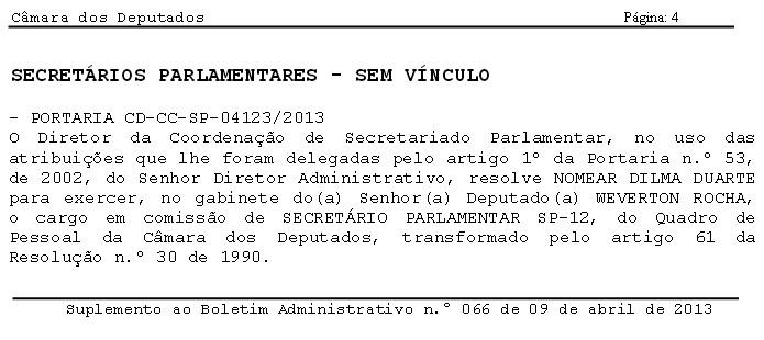 Mesmo sendo funcionária d aprefeitura de São Luís, Dilma Duarte foi nomeada na Câmara no mês de abril