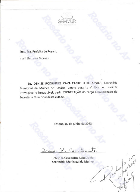 Decisão assinada pela ex-secretária