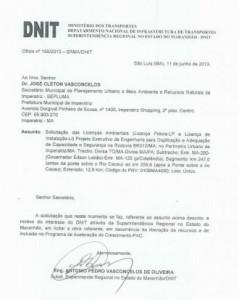Documento do Dnit postado no Facebook não comprava a mediação de Davi Júnior na revitalização da rodovia. Foto: Reprodução / Facebook
