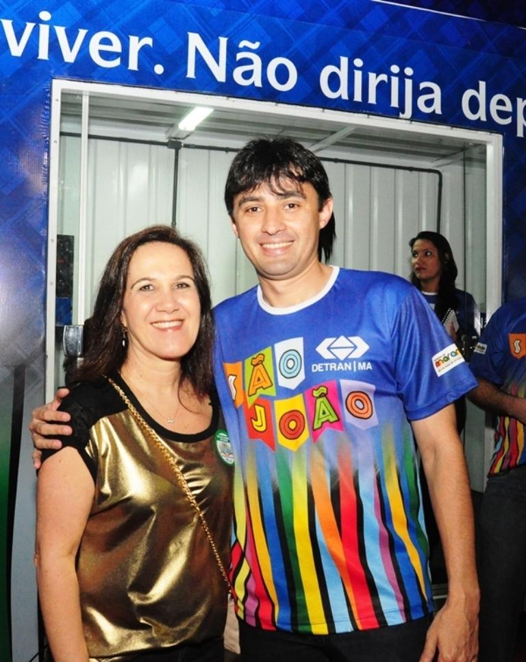 Secretária Olga Simão e o diretor geral do Detran do Maranhão, André Campos,  durante as ações educativas