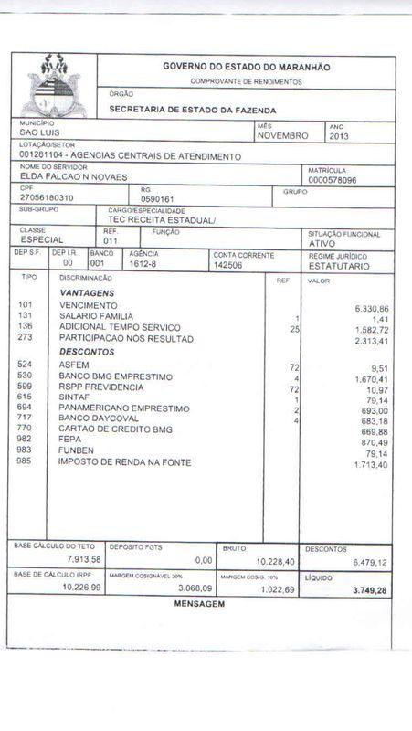 Contra-cheque da secretaria de Fazenda