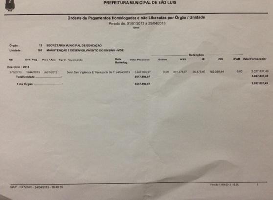Autorização para pagamento do indenizatório de onde saiu os 500 mil para Dino.