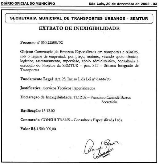 Contrato da Consulttrans em 2002.Contrato da Consulttrans em 2002.