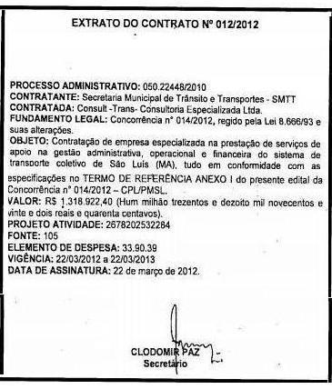Contrato Consulttrans em 2012.