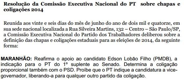 Resolução  PT Nacional.